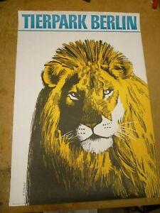 Original Vintage Poster Lion - Zoo Berlin  (1970)