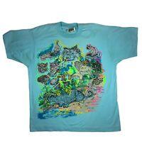 Vintage Vaporwave Cat Puffy T Shirt Med Neon 3d 80s 90s Single Stitch