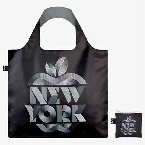 LOQI Tote, Alex Trochut New York Black Travel Canvas Beach Bag inc zipped pouch