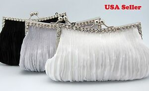Bling Bling Rhinestones Silver Frame Soft Clutch Party Purse Evening Prom Bag
