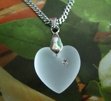 Made with Swarovski Crystal Frosted Heart 6221 16mm Pendant Chain Love
