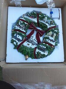 Thomas Kinkade Christmas Village Wreath by Hamilton Collection - Great Condition