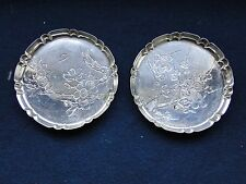 Japanese Sterling Silver Engraved With Flowers Dishes, Marked On The Base 1890
