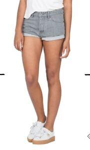 Volcom NWT Sz 3 Rolled Short Boyfriend Gray Vintage Cotton Shorts