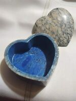 "Soapstone Jewelry Trinket Gift Box Blue Made in Italy Heart Shaped 4.5"" Across"
