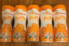 FIVE CANISTERS HAPPY BABY ORGANIC BABY FOOD ORGANIC PUFFS SWEET POTATO 2.1oz Ea.