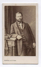 PHOTO ANCIENNE CDV Homme Barbe Vers 1870 Bertall & Cie Paris Rideau Livre