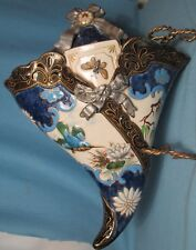 Extraordinary French Desvres WALL POCKET ~ Cobalt with Butterfly * Hummingbird