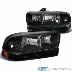 For Chevy 98-04 S10 Blazer Pickup Black Clear Driving Headlights+Bumper Lamps