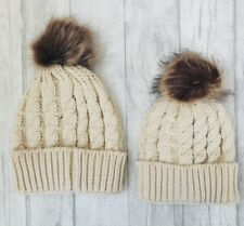 FAMILY MATCHING BOBBLE HAT, Cream Mummy or Daddy and Baby Hat Set, Winter Hat