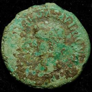 Tiberius AE30 Caesaraugusta, Hispania, r. Priest ploughing with oxen, 31-32AD