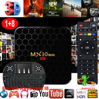 2019 MX10 MINI Android 9.0 Quad Core 4K HD Backlit I8 Smart TV BOX H.265 3D View