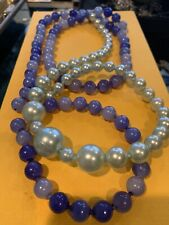 Blue Pearl And Sky Blue Vtg Pop It Snap Beads Silver