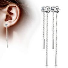 1 Paar Damen Ohrringe Ohrhänger Ohrstecker Ketten Stäbe Silber Chirurgenstahl