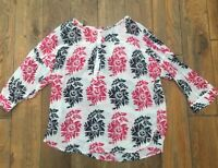 Ann Taylor LOFT Women's 3/4 Long Sleeve Sheer Blouse Top Petite S Tropical