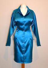 TURQUOISE SATIN SHIRT DRESS SIZE LARGE
