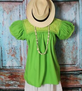 XS/S Size Peasant Blouse Lime Green Handmade Puff Sleeves Mayan Chiapas Mexican