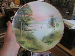 """ANTIQUE VINTAGE NIPPON HANDPAINTED MORIAGE PLATE WITH TREES GREEN M MARK 10"""""""
