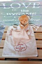 Doudou & Compagnie Ours marron blanc mouchoir rayé Coton Bio