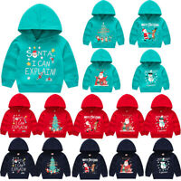 Toddler Baby Kids Boys Girls Christmas Snowman Hooded Sweatshirt Tops Fashion
