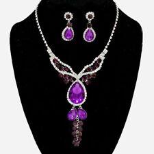 Purple diamante crystal necklace set Brides Bridesmaid Proms statement bling 508