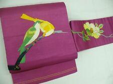 Antique Pink Silk Japanese NAGOYA OBI w/HAND Emb pair Birds B834