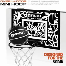 "AND1 Indoor Basketball Hoop- 18""x12"" Mini Basketball Hoop Over the Door Portable"