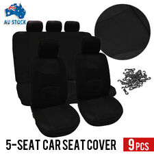 New 9Pcs/Set Car Seat Covers Front&Rear Seat Back Head Rest Protector Black AU