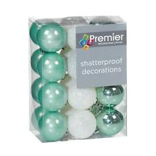 Christmas Tree Decoration 24 Pack 30mm Mini Shatterproof Baubles Green / White