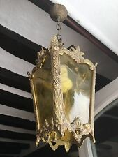 Vintage French Hall Porch Gilt Bronze Lantern Ceiling Light With Amber Glass