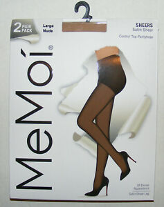 2 Pack Control Top Pantyhose Size L Satin Sheer 18 DEN Silky Touch MeMoi