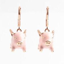 Kate Spade Enamel Pink Imagination Pig Crystal Drop Earrings w/ Gift Box