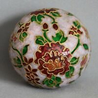 Vintage Cloisonne Enameled Flowers Pink Paperweight Twisted Rope Wire