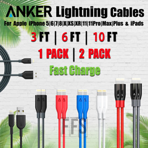 Anker Cable 8 Pin 3FT 6FT 10FT For 5 6 7 XS 11 Fast Charger lot Colors Lengths