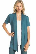 Women's Solid Short Sleeve Cardigan Open Front Wrap Vest Top Plus USA (S-3X)