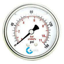 "2-1/2"" Pressure Gauge, Stainless Steel Case, Liquid Filled, Back Mnt 0-160 PSI"