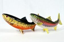 "Painted 10"" Rainbow Brook Trout Fish Statue Figurine Sculpture 405T (set of 2)"