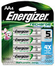 Energizer Rechargeable AA Batteries.  Pack of 4 Batteries.