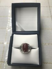 Men Ring STERLING SILVER 925 Natural  Red AGATE AQEEQ Size 8.5