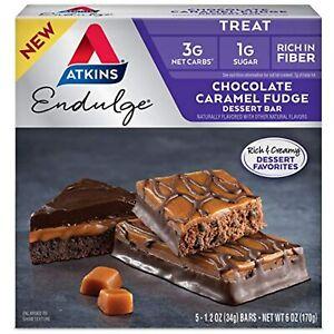 Atkins Endulge Treat Dessert Bar Chocolate Caramel, Fudge