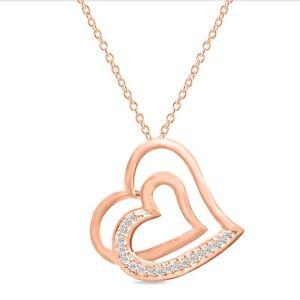 Double Heart Shape 14K Rose Gold Finish 925 Sterling Silver Beautiful Pendant