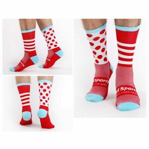 Pro Men Women Cycling Ankle Socks Road Riding Stripe Sports Socks Breathable Red