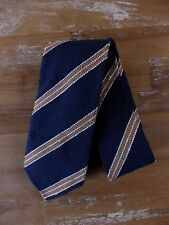 auth DRAKE'S Drakes of London navy blue Shantung raw silk striped tie - NWOT