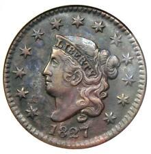 1827 Coronet Matron Large Cent 1C - Certified Anacs Au50 Details - Rare Coin