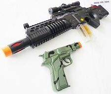 2x Toy Guns Electronic Special Forces Rifle w Sound & Camo 9MM Pistol Cap Gun
