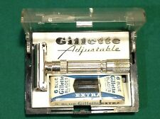 Vintage  GILLETTE FATBOY Adjustable  RAZOR  F4 - 1960's & Pack Of 6 Blue Bades
