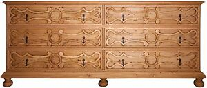 "84"" L Dresser Reclaimed Douglas Fir Hand Crafted Ornately Carved Drawer Fronts"