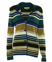 Calvin Klein Women's Button Front Striped Cardigan Blue Tan Multi Size Small
