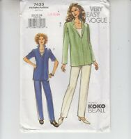 Vogue 7433 Misses Top Pants Loose-fitting Koko Beall Sewing Pattern Sizes 20-24