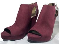 Carlos Santana Womens Sandals Maroon Peep Toe Wedge Heels  9M